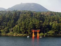 Hakone Shrine's Lakefront Torii Royalty Free Stock Photography