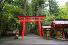 Hakone shrine (temple)  Japanese Shinto shrine entrance beside a. Shi lake tokyo japan important tourist destiantion to visit Royalty Free Stock Photo