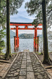 Hakone Shrine Tori stock images