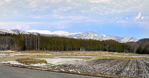 Hakuba bergskedja från det plana bylantbruklandet Arkivfoton