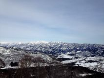 Hakuba, Japan. View from the top of one of the 7 mountains for skiing in Hakuba, Japan Royalty Free Stock Photography