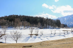 Hakuba mountain range in the winter with snow Stock Photography
