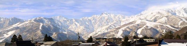 Hakuba pasmo górskie w popołudniowej wczesnej zimie Obraz Royalty Free