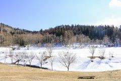 Hakubabergketen in de winter met sneeuw op de berg a Stock Fotografie