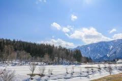 Hakubabergketen in de winter met sneeuw op de berg Royalty-vrije Stock Afbeelding