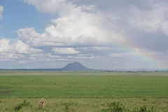 Hakuna Matata. After a rainstorm in Tarangire National Park a rainbow appears when the sun comes out Stock Photography