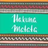 Hakuna Matata z etnicznym plemiennym wzorem Ręka rysujący kartka z pozdrowieniami również zwrócić corel ilustracji wektora ilustracja wektor