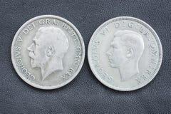 Hal krona, George V och VI. arkivbild