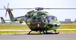 HAL Rudra attack helicopter, formerly known as Dhruvs. Developed and manufactured by India`s Hindustan Aeronautics Limited HAL. Aircraft painted in camouflage Stock Photography