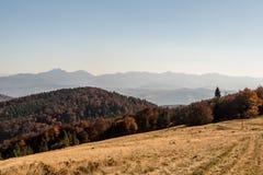 Hala na Malej Raczy in Beskid Zywiecki mountains with hills of Mala Fatra mountains on the background during autumn royalty free stock photo