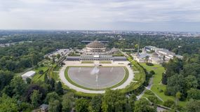 Hala Stulecia, WrocÅ 'aw, Unesco, Polen, 08 2017, luchtmening stock foto
