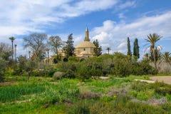Hala sułtanu Tekke meczet obok Aliki słonego jeziora w Larnaka Fotografia Stock