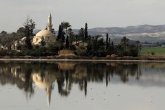 Hala Sultan Tekke Cyprus Arkivbild