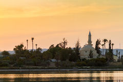 Hala Sultan Tekke on Larnaca salt lake in Cyprus Royalty Free Stock Photography