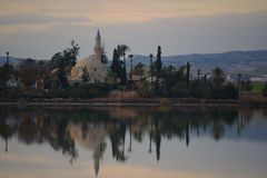 Hala Sultan Tekke. Mosque at Larnaca salt lake Stock Images