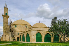 Hala Sultan Tekke Mosque, Larnaka, Cyprus. On the banks of the Aliki salt lake.  Shot in the spring Stock Image
