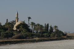 Hala Sultan Tekke. Mosque of Umm Haram Near Salt Lake, Larnaca, Cyprus Stock Photos