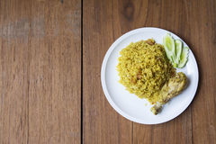Halal food Arab rice. With chicken Stock Photography