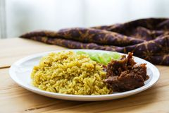 Halal food Arab rice. With meat Stock Photos