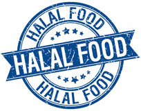 Halal food grunge retro blue isolated stamp Stock Images