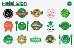 Halal food labels  set. Badges, logo, tag round, and label design. suitable for banner, flyer, trade mark, and other advertising raw materials.  easy to modify Royalty Free Stock Photography