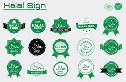Halal food labels  set. Royalty Free Stock Photos