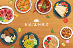 Halal food on a wooden background. Vector halal food top view Stock Photos