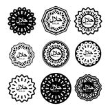 Halal sign. Muslim traditional food logo. Etiquette Arabic meal. Royalty Free Stock Images