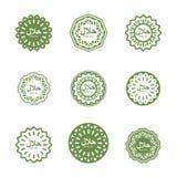 HALAL tecken Muslimsk traditionell matlogo Etikettarabiskamål Arkivfoton