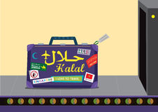 Halal Travel and Tourism concept. A Baggage full of travel themed stickers of Pro Halal countries moves via a conveyor belt towards an airport Xray. Vector and vector illustration