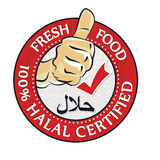 100% Halal zugelassenes, neues Lebensmittel - bedruckbarer Stempel/Aufkleber vektor abbildung