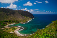 Halawa Bay, Molokai. A gorgeous wide landscape photograph of Halawa Bay on Molokai, Hawaii Royalty Free Stock Photos