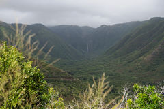 Halawa Valley on Molokai. At the northeastern tip of Molokai, the road US 450 ends in the Halawa Valley. The two waterfalls in the background, are on private Royalty Free Stock Photos