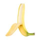 Halb-geöffnete fleckenlose frische Banane über Weiß Stockbild
