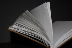 Halb-geöffnetes braunes Tagebuch stockfoto