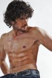 Halb nackte Portraits des stattlichen muskulösen Mannes Lizenzfreies Stockfoto