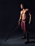 Halb nackter Krieger mit einer Klinge in der mittelalterlichen Kleidung stockfotos