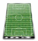 Halb reales Fußballstadion Stockfoto