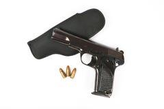 Halbautomatisches 9mm Gewehr lokalisiert auf weißem Hintergrund Stockfotografie