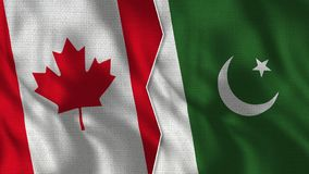 Halbe Flaggen Kanadas und Pakistans zusammen lizenzfreie stockfotografie