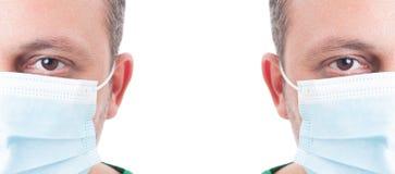 Halbe Gesichter männlichen Doktors Stockfoto