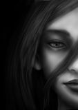 Halbe Gesichtsfrauen Stockbilder