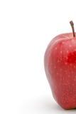 Halber Apfel im Fokus lokalisiert auf einem weißen Hintergrund Stockfoto