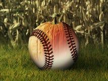 Halber Baseball-halber Kürbis in der Fall-Einstellung Lizenzfreies Stockbild