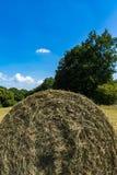 Halber Hay Roll Bale Abstract Blue-Himmel-Sommer-Feld-Bauernhof Stockfotografie