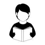 Halber Körper des einfarbigen Mannes mit Buch Stockfotos