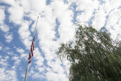 Halber Mast der amerikanischen Flagge mit Weidenbaum lizenzfreie stockfotografie