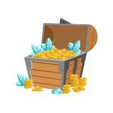 Halber offener Piraten-Kasten mit goldenen Münzen und blauer Crystal Gems, versteckter Schatz und Reichtum für Belohnung im Blitz lizenzfreie abbildung