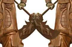 Halberd chinese style of a copper warrior sculpture Royalty Free Stock Photography