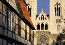 Halberstadt Cathedral, Germany. Halberstadt Cathedral in evening light, closeup; Halberstadt, Germany stock photos